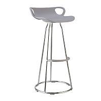 TEMPO KONDELA Barová stolička, chróm + plast, sivá, GLADI
