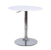 TEMPO KONDELA Barový stôl, s nastaviteľnou výškou, chróm/biela, BRANY