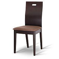 TEMPO KONDELA Drevená stolička, wenge/látka tmavo hnedá, ABRIL