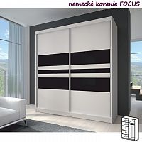 TEMPO KONDELA Dvojdverová skriňa, 183x218, s posuvnými dverami, biela/čierne sklo/biela, MULTI 11