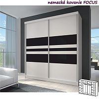 TEMPO KONDELA Dvojdverová skriňa, 233x218, s posuvnými dverami, biela/biela//čierne sklo, MULTI 11