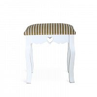 TEMPO KONDELA Elegantná taburetka, biela/bézový pásik, WAGNER 1