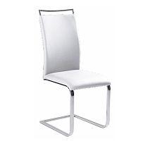 TEMPO KONDELA Jedálenská stolička, ekokoža biela/chróm, BARNA