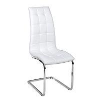 TEMPO KONDELA Jedálenská stolička, ekokoža biela/chróm, DULCIA
