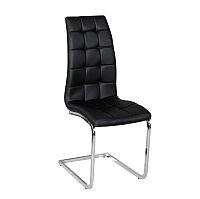 TEMPO KONDELA Jedálenská stolička, ekokoža čierna/chróm, DULCIA