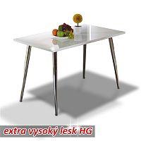 TEMPO KONDELA Jedálenský stôl 120x70, MDF+chróm, extra vyský lesk HG, PEDRO