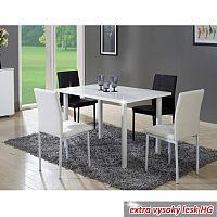 TEMPO KONDELA Jedálenský stôl, biela, extra vysoký lesk, UNITA