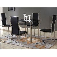 TEMPO KONDELA Jedálenský stôl, čierne sklo+chrómovaná oceľ, NANETA
