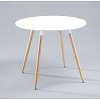 TEMPO KONDELA Jedálenský stôl, drevo + MDF, biela , MASINA