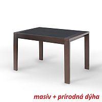 TEMPO KONDELA Jedálenský stôl, rozkladací, wenge/čierne sklo, JANADAN