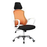 TEMPO KONDELA Kancelárska stolička, biela/oranžová, ARIO