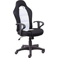 TEMPO KONDELA Kancelárska stolička, čierna/biela, SENON
