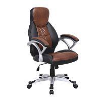 TEMPO KONDELA Kancelárska stolička, ekokoža hnedá+čierna/plast, ICARUS