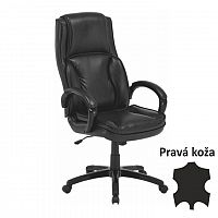 TEMPO KONDELA Kancelárska stolička, koža/ekokoža čierna, LUMIR