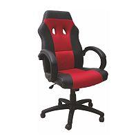 TEMPO KONDELA Kancelárske kreslo, červeno-čierne, BST 4063
