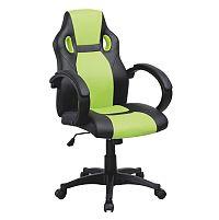 TEMPO KONDELA Kancelárske kreslo, ekokoža čierna/ekokoža zelená, LESTER