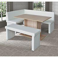 TEMPO KONDELA komplet rohová lavica+stol+lavica ekokoža biela, L - prevedenie, MODERN