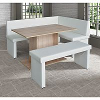TEMPO KONDELA komplet rohová lavica+stol+lavica ekokoža biela P - prevedenie, MODERN