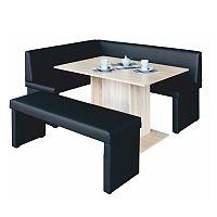 TEMPO KONDELA komplet rohová lavica+stol+lavica ekokoža čierna, L - prevedenie, MODERN