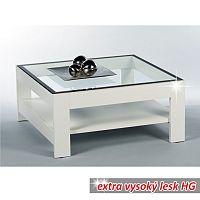 TEMPO KONDELA Konferenčný stolík, biela-extra vysoký lesk HG+číre sklo, ATTAC