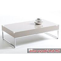TEMPO KONDELA Konferenčný stolík, chróm/biela extra vysoký lesk HG, LOTTI