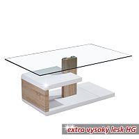 TEMPO KONDELA Konferenčný stolík, MDF+číre sklo, biela extra vysoký lesk HG/dub sonoma, LARS