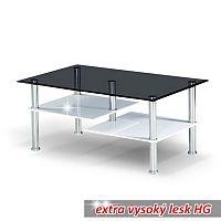 TEMPO KONDELA Konferenčný stolík, oceľ/dymové sklo/biela extra vysoký lesk HG, SVEN