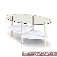 TEMPO KONDELA Konferenčný stolík, oceľ/sklo/biela extra vysoký lesk HG, AXEL