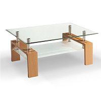 TEMPO KONDELA Konferenčný stolík, sklo/buk, LIBOR NEW