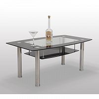 TEMPO KONDELA Konferenčný stolík, sklo/oceľ, BASEL - ERVIN