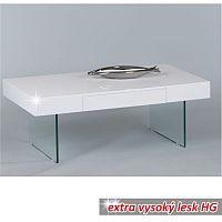 TEMPO KONDELA Konferenčný stolík so zásuvkou, biela/ extra vysoký lesk HG, DAISY