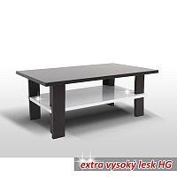 TEMPO KONDELA Konferenčný stolík, wenge/biela extra vysoký lesk HG, ANATOL