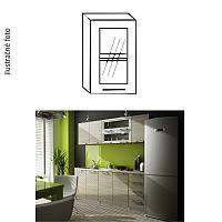 TEMPO KONDELA Kuchynská skrinka, pravá, strieborné orámovanie/sklo, IRYS GW-40