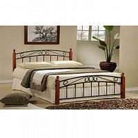 TEMPO KONDELA Manželská posteľ, drevo čerešňa/čierny kov, 160x200, DOLORES