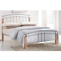 TEMPO KONDELA Manželská posteľ, drevo prírodné/strieborný kov, 160x200, MIRELA