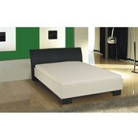 TEMPO KONDELA Manželská posteľ, ekokoža čierna/biele lamino, 180x200, TALIA