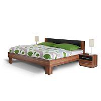 TEMPO KONDELA Manželská posteľ, s 2 nočnými stolíkmi, orech/čierna, 180x200, MARTINA