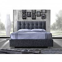 TEMPO KONDELA Manželská posteľ s roštom, 160x200, tmavosivá látka, RAGNAR