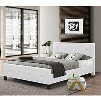 TEMPO KONDELA Manželská posteľ, s roštom, ekokoža biela, 160x200, CARISA