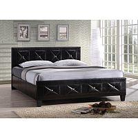 TEMPO KONDELA Manželská posteľ, s roštom, ekokoža čierna, 160x200, CARISA