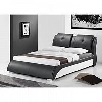 TEMPO KONDELA Manželská posteľ, s roštom, ekokoža čierna/biela, 160x200, TORENZO