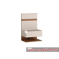 TEMPO KONDELA Nočný stolík, biela extra vysoký lesk HG/dub sonoma tmavý, LYNATET TYP 95