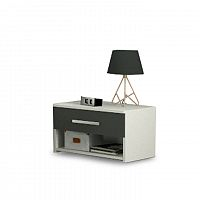 TEMPO KONDELA Nočný stolík, DTD laminovaná, sivá grafit/biela, GREYLINE
