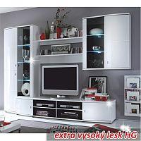 TEMPO KONDELA Obývacia stena, biela/vysoký biely lesk HG, LINE 2VA