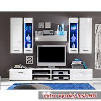 TEMPO KONDELA Obývacia stena, LED s osvetlením, sklo/biela extra vysoký lesk HG, FORSE