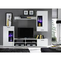 TEMPO KONDELA Obývacia stena, s osvetlením, biela/číre sklo, FRONTAL 1