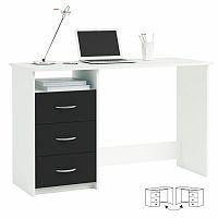 TEMPO KONDELA PC stôl, biela/čierna, LARISTOTE 304375