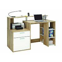 TEMPO KONDELA PC stôl, biela/dub sonoma, MERAKLE
