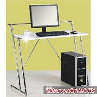 TEMPO KONDELA PC stôl, biela extra vysoký lesk HG, ZIVO