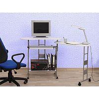 TEMPO KONDELA PC stôl, biela, strieborná, KAIL